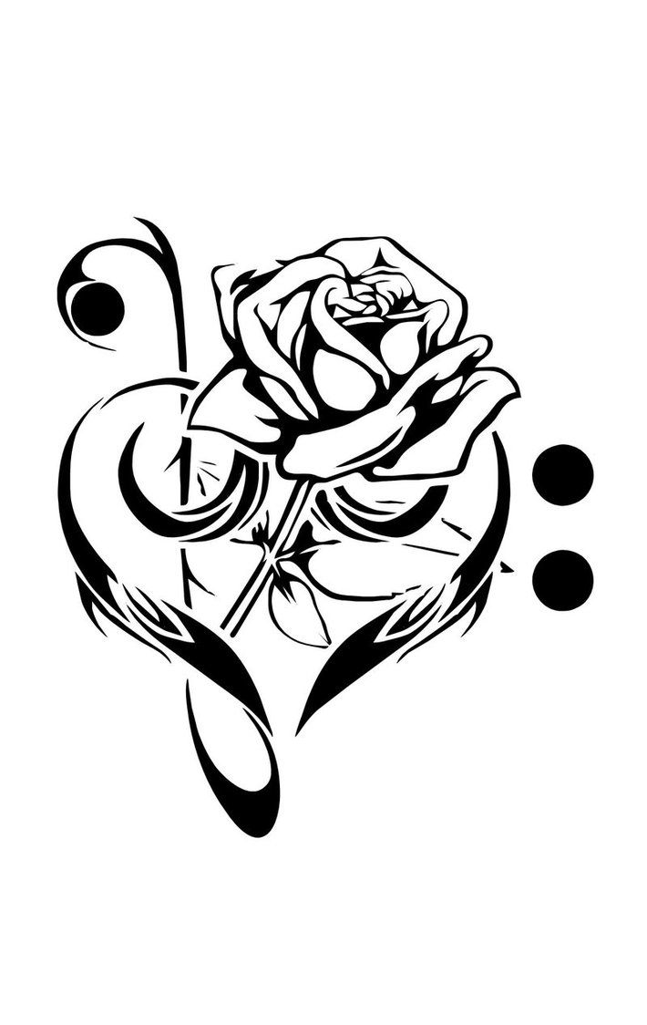 Black rose and heart clipart svg freeuse library Black Rose In Music Heart Tattoo Stencil By E Stone svg freeuse library