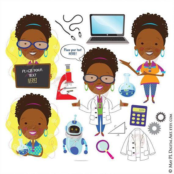Black scientist clipart vector transparent library Science Teacher Scientist African American Woman Clipart Technology ... vector transparent library