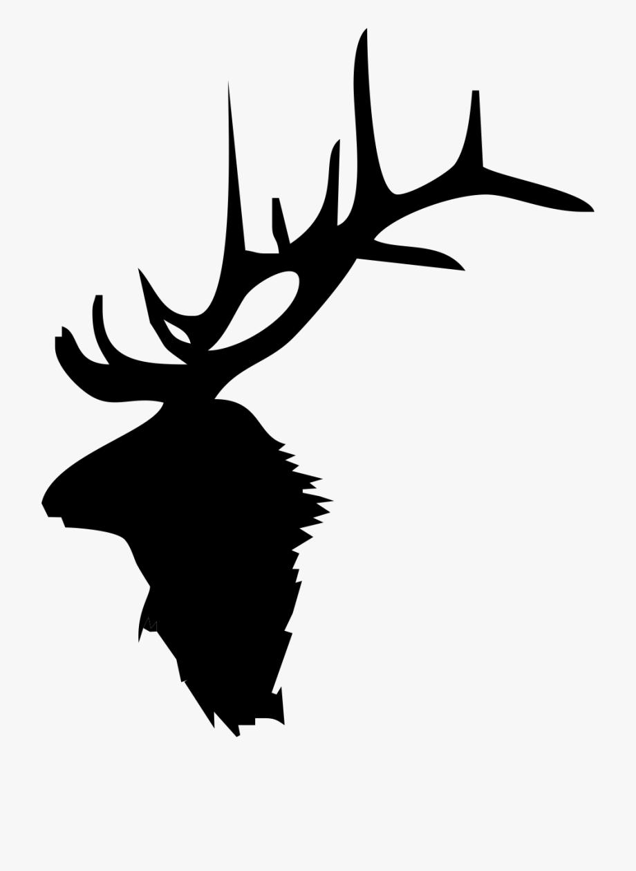 Black shadow moose clipart banner free Moose Antlers Silhouette - Elk Head Silhouette #60217 - Free ... banner free