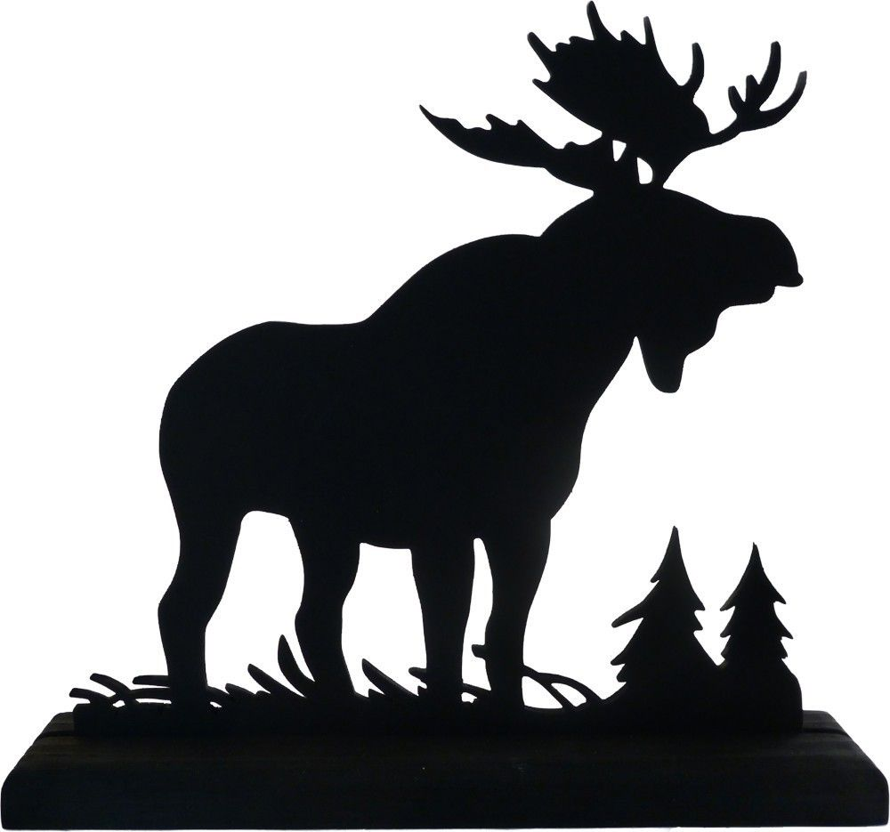 Black shadow moose clipart graphic royalty free library Majestic Moose Hand-cut Wood Decorative Display Silhouette SAWN001 ... graphic royalty free library