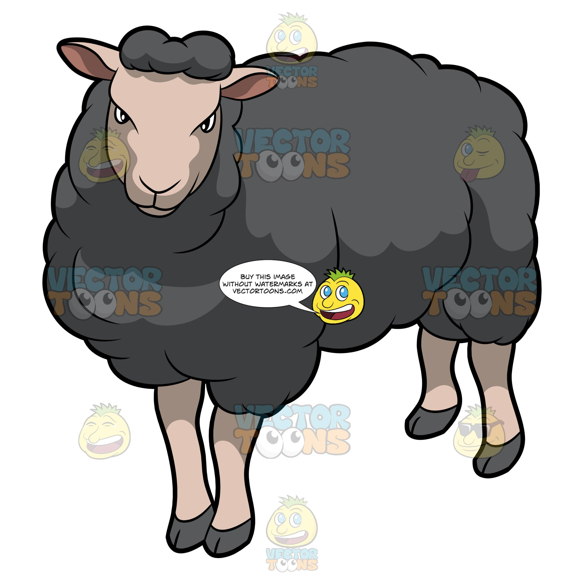 Black sheep cartoon clipart images png black and white A Fierce Looking Black Sheep png black and white
