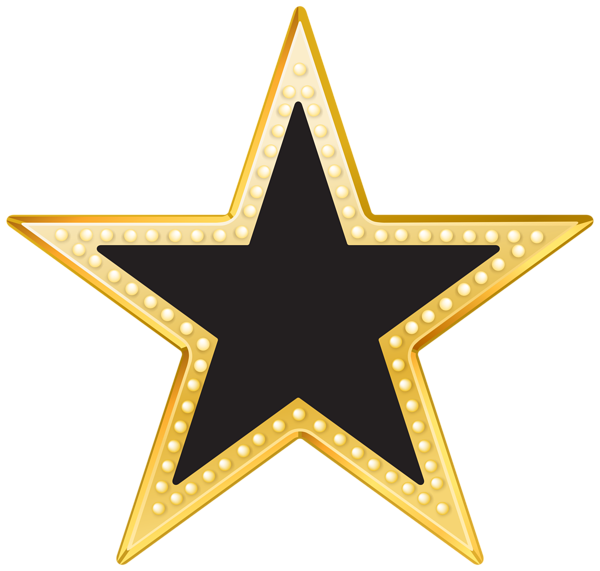 Gold and Black Star PNG Transparent Clip Art Image | # 115 Stars ... image black and white stock