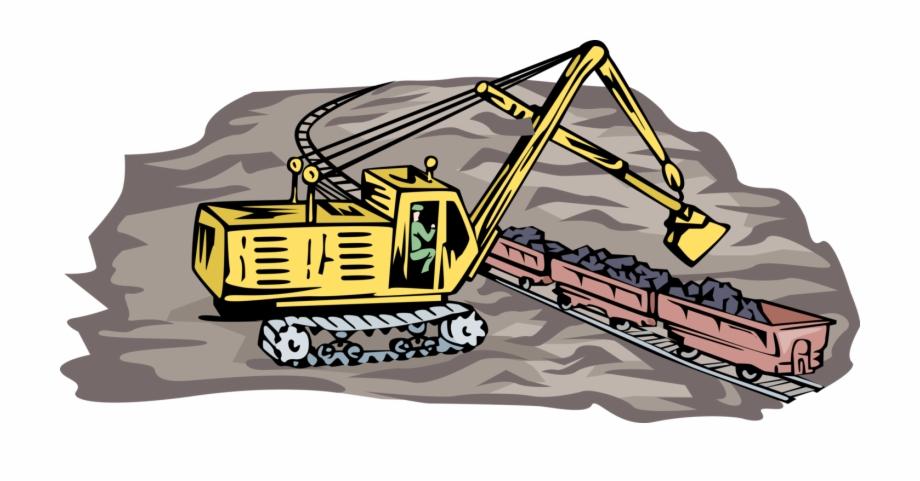 Black steamshovel clipart clip black and white stock Vector Illustration Of Steam Shovel Loading Rail Cars - Illustration ... clip black and white stock