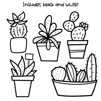 Black succulent clipart image black and white Cactus & Succulent Doodles - Clip Art [IN COLOR!] image black and white