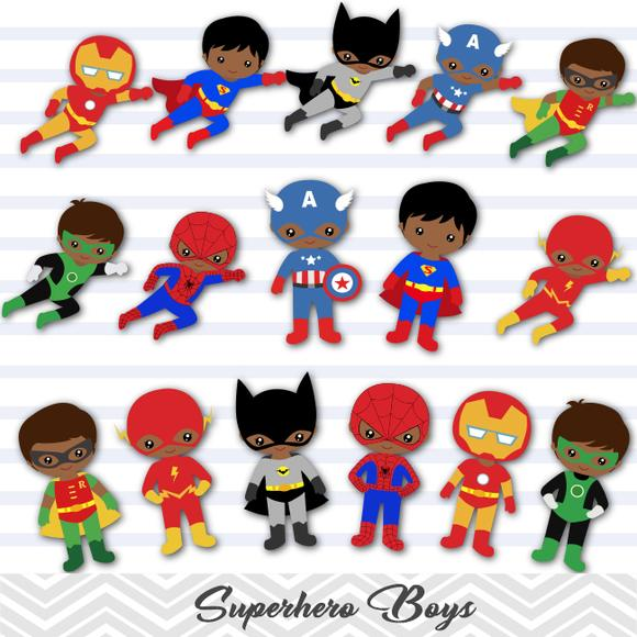 Black superhero kid clipart no water mark picture black and white library African American Superhero Boys Digital Clip Art, Avengers Clip Art ... picture black and white library