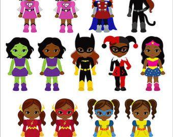 Black superhero kid clipart no water mark clip transparent stock Girls Superhero clip art, Supergirl clipart, African american ... clip transparent stock