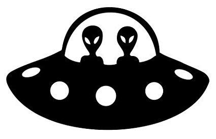 Black ufo clipart vector royalty free library Alien Spaceship UFO Vinyl Decal Sticker (BLACK) vector royalty free library