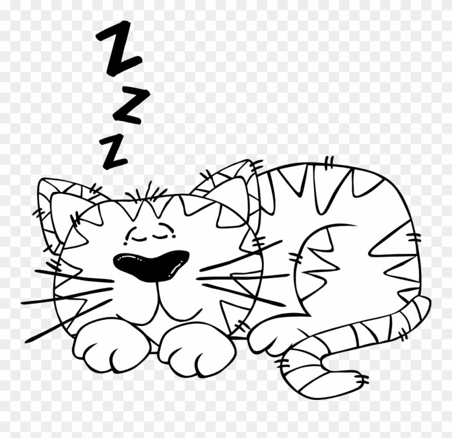 Black vector clipart sleep png graphic library download Free Vector Cartoon Cat Sleeping Outline Clip Art - Sleeping Cartoon ... graphic library download