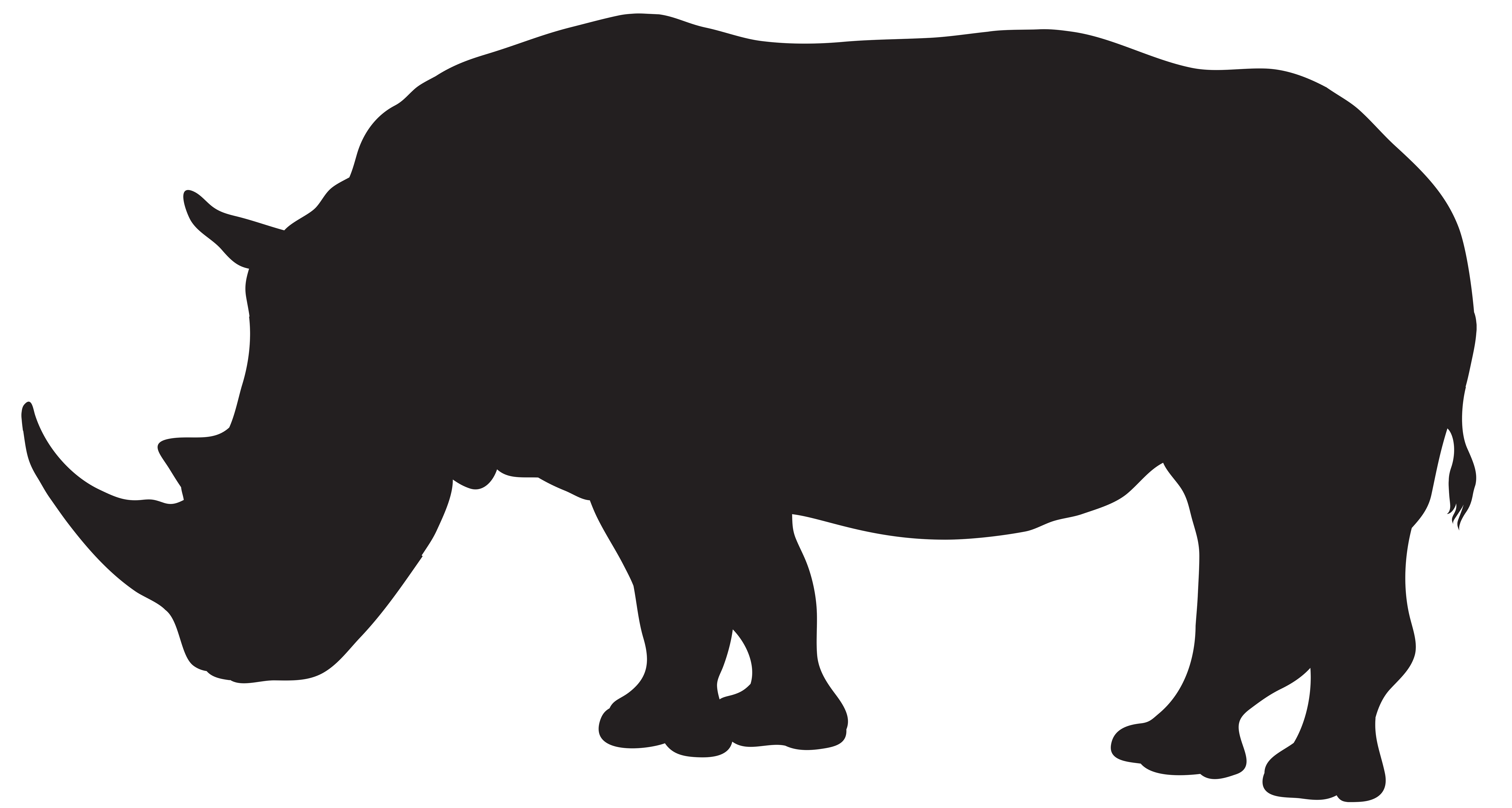 Black vs white rhino clipart freeuse Rhinoceros Silhouette Clip art - Rhino Silhouette PNG Transparent ... freeuse