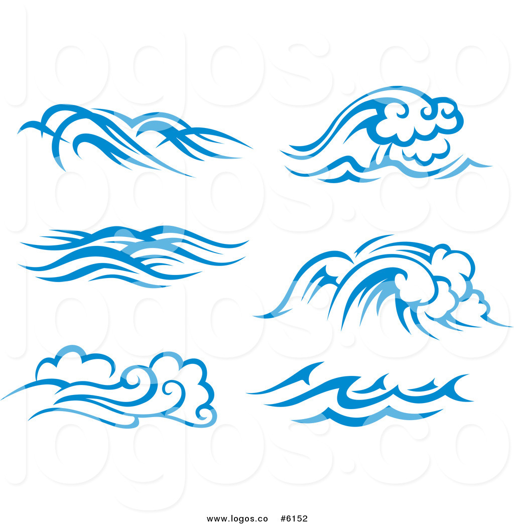Royalty free clipart waves image free library Royalty Free Clip Art Vector Logos of Blue and White Ocean Surf ... image free library