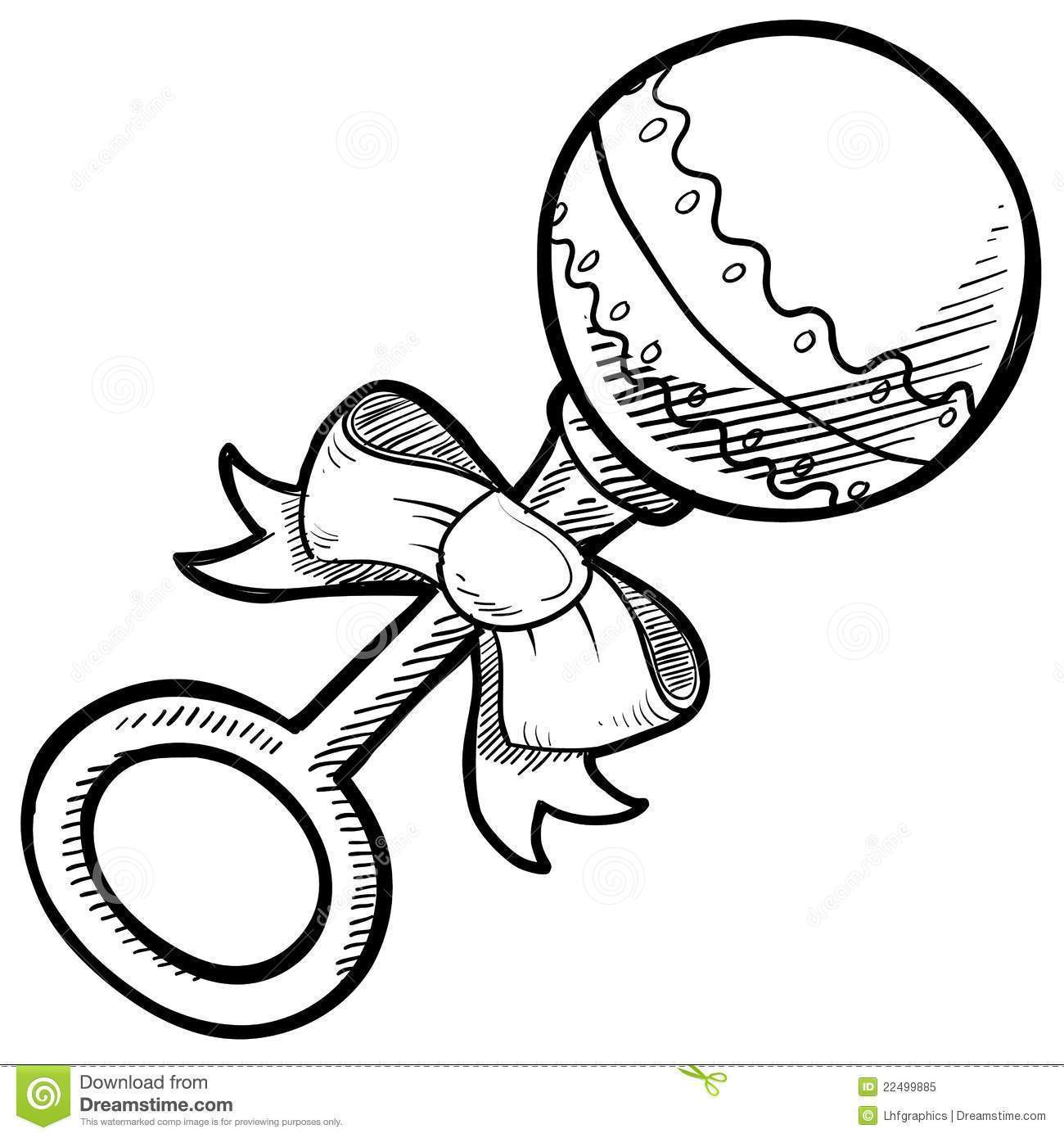 Black white baby rattle clipart royalty free library Baby Rattle Drawing Royalty Free Stock Photo Image 22499885 Black ... royalty free library