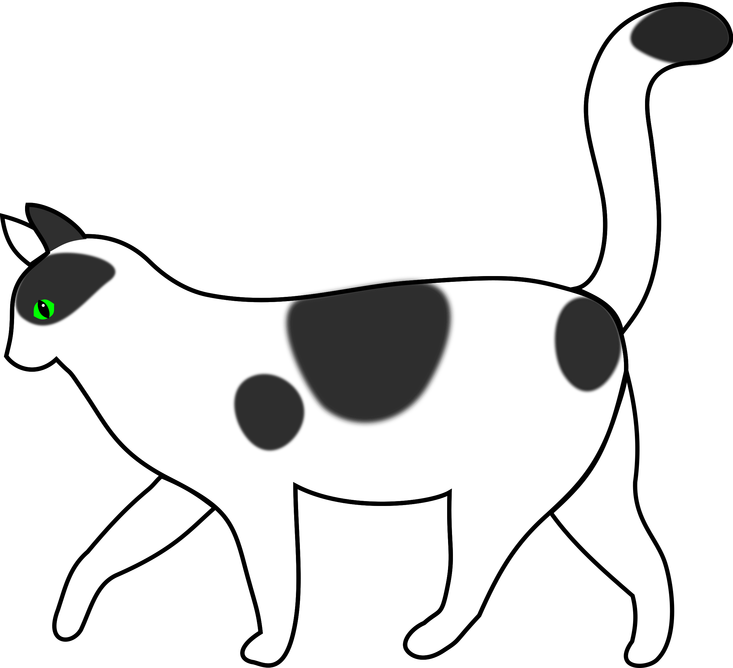 Walking cat clipart graphic free library Clipart - white cat walking graphic free library