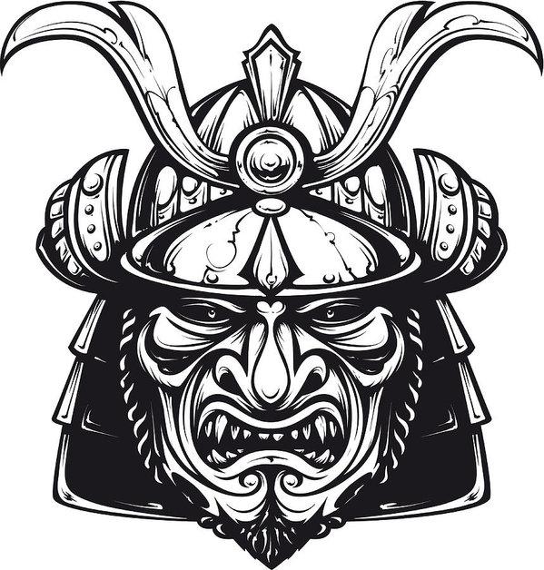 Black white clipart cross out mask clip art freeuse Samurai Mask Clip-art Art Print clip art freeuse
