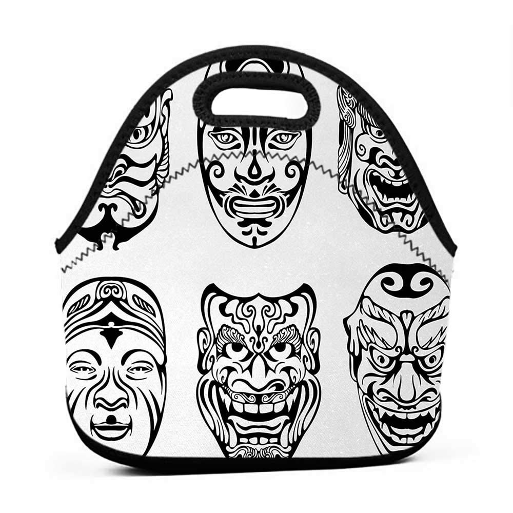 Black white clipart cross out mask picture transparent Amazon.com: Neoprene Lunch Bag Kabuki Mask, Japanese Nogaku ... picture transparent