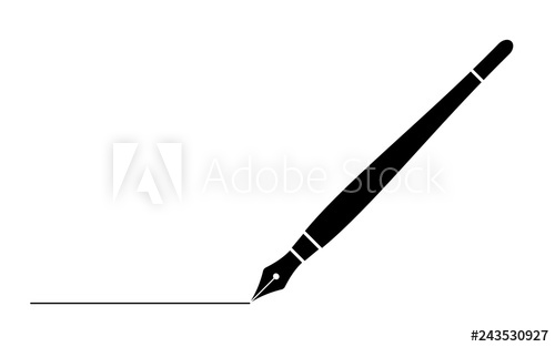 Black white clipart fountain pen vector freeuse black business fountain pen with line isolated on white for web,app ... vector freeuse