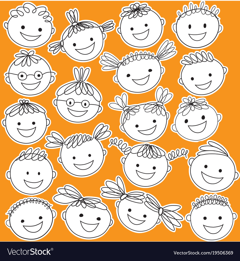 Black white clipart kids heads clip black and white Kid heads in black color on white background Vector Image clip black and white