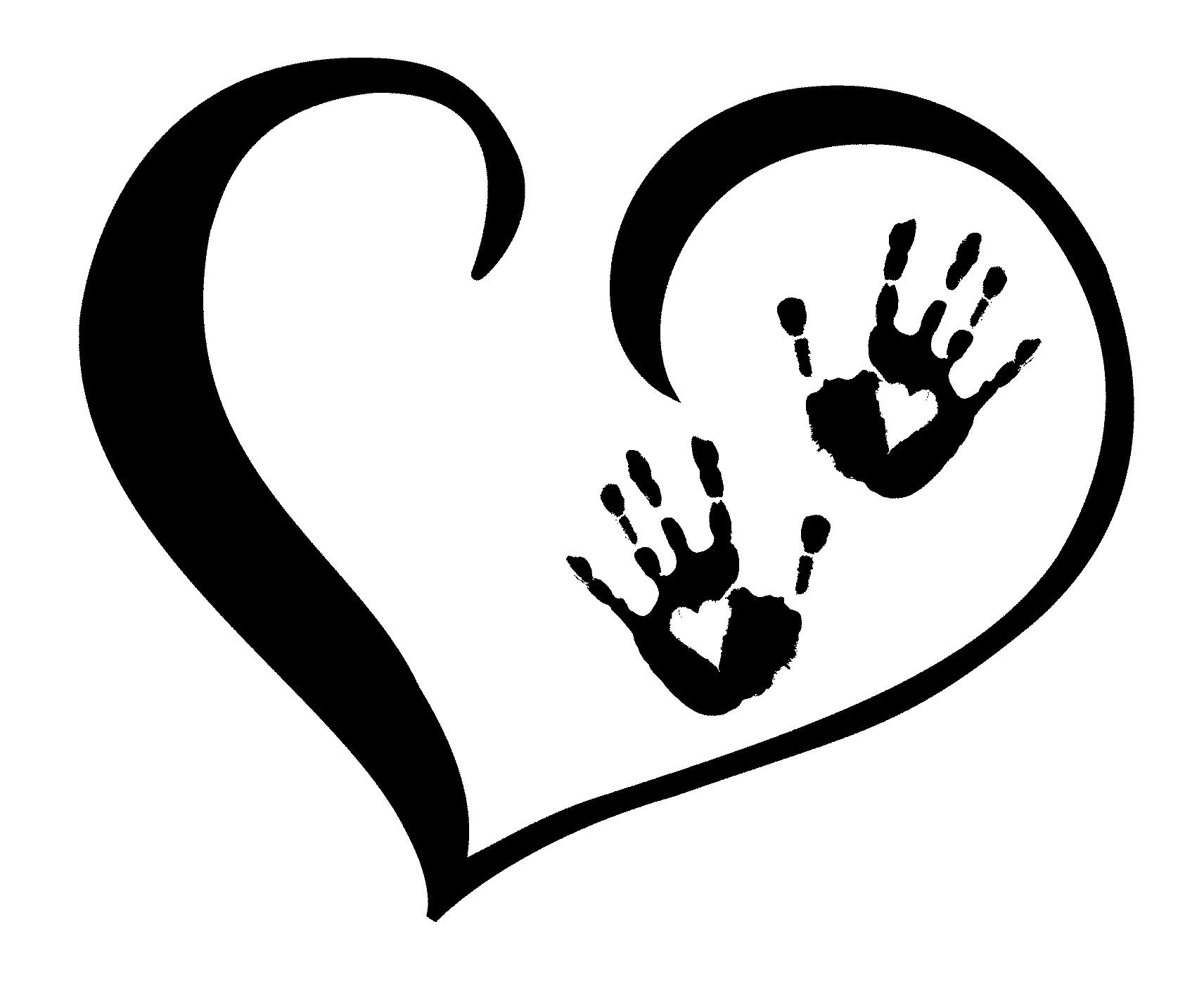 Black white clipart of open hearts. Clipartfest hands