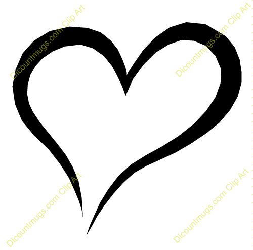 Black white clipart of open hearts