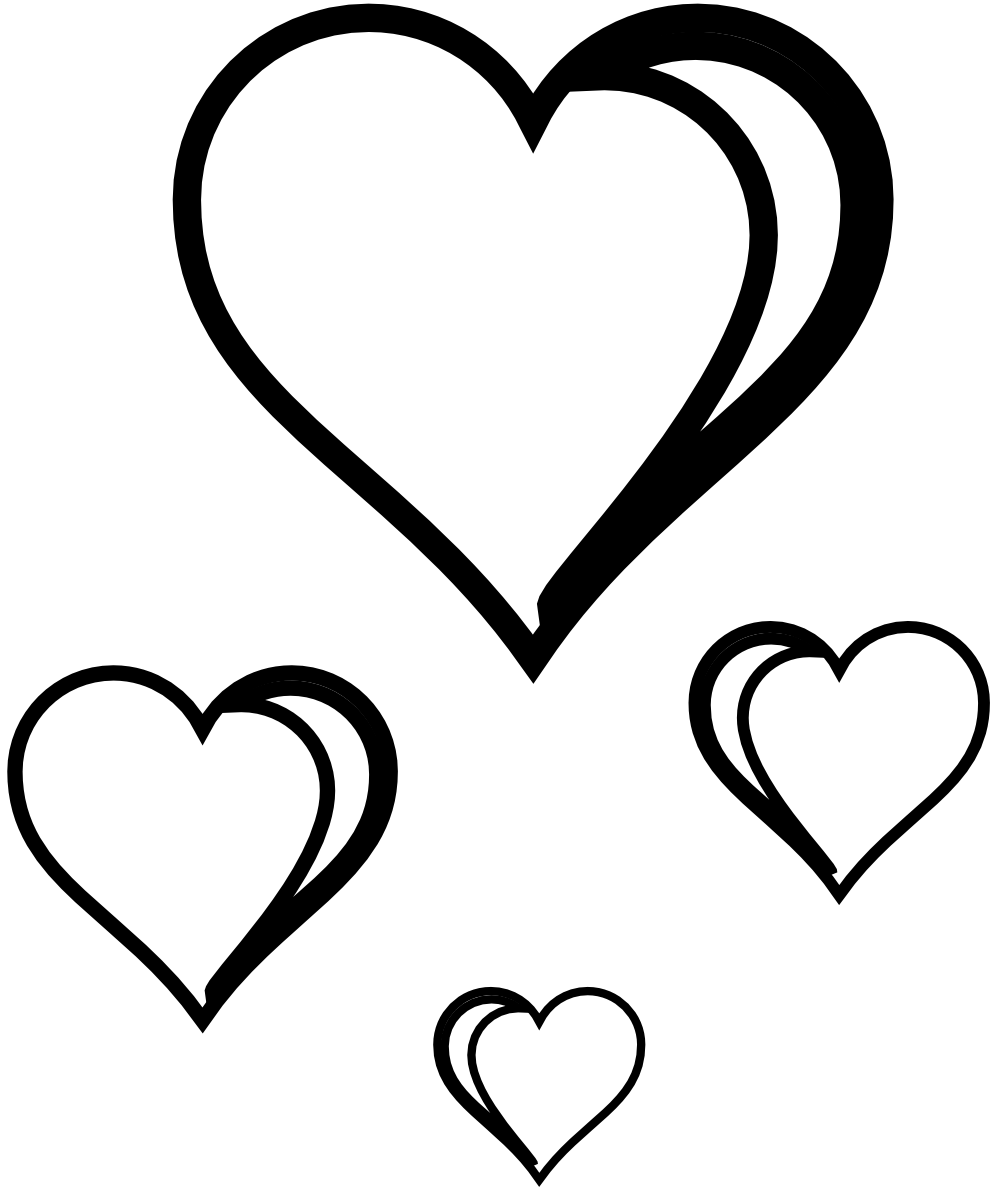 Stethoscope clipart heart banner black and white Black & white clipart of open hearts - ClipartFest banner black and white