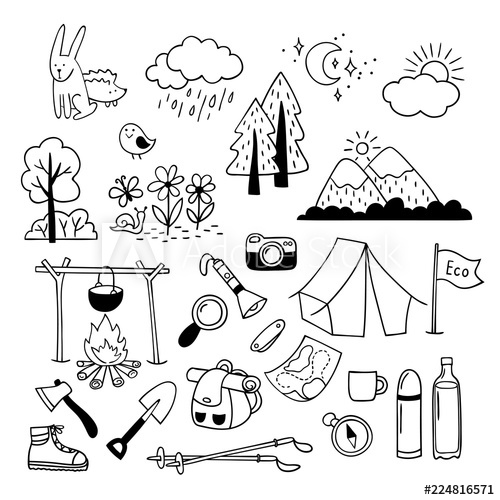 Black white clipart of outdoor clip art freeuse stock Set of hand drawn outdoor camping equipment icons, hiking, mountain ... clip art freeuse stock