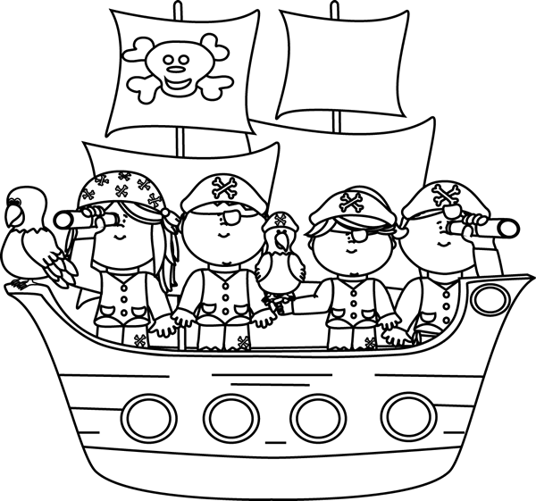 Black white clipart pirate ship png black and white download Black and White Pirates on a Pirate Ship Clip Art - Black and White ... png black and white download