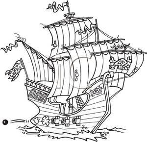 Black white clipart pirate ship royalty free stock Black and White Cartoon Pirate Ship - Royalty Free Clipart Picture ... royalty free stock