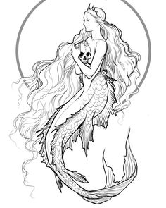 Black white clipart sea siren banner royalty free stock 44 Best Siren Tattoo images in 2018 | Mermaid tattoos, Draw ... banner royalty free stock