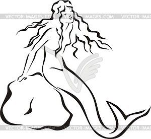 Black white clipart sea siren graphic free library Mermaid Clipart Black And White | Free download best Mermaid Clipart ... graphic free library