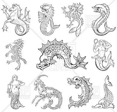 Black white clipart sea siren jpg black and white stock Heraldic sea monsters - Wyvern, Siren and other Vector Image ... jpg black and white stock