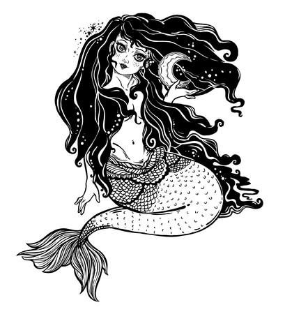 Black white clipart sea siren image transparent library Feminine mermaid girl with fairytale hair and moon. Ocean siren in ... image transparent library