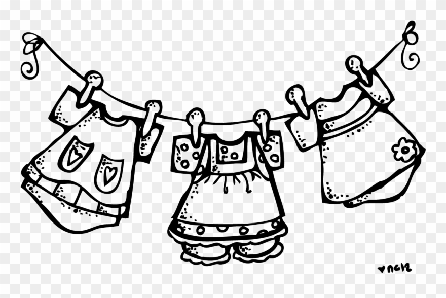 Clothes on a rack clipart black and white