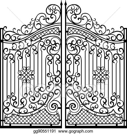 Black & white gate clipart vector Clip Art Vector - Beautiful iron ornament gates. black on white ... vector