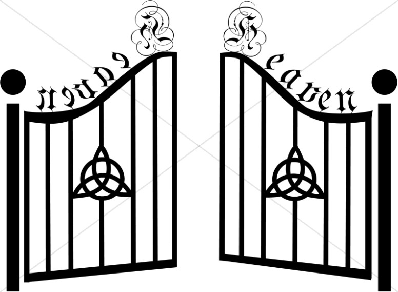 Black & white gate clipart jpg library library Gates of Heaven with Celtic Trinity | Inspirational Clipart jpg library library