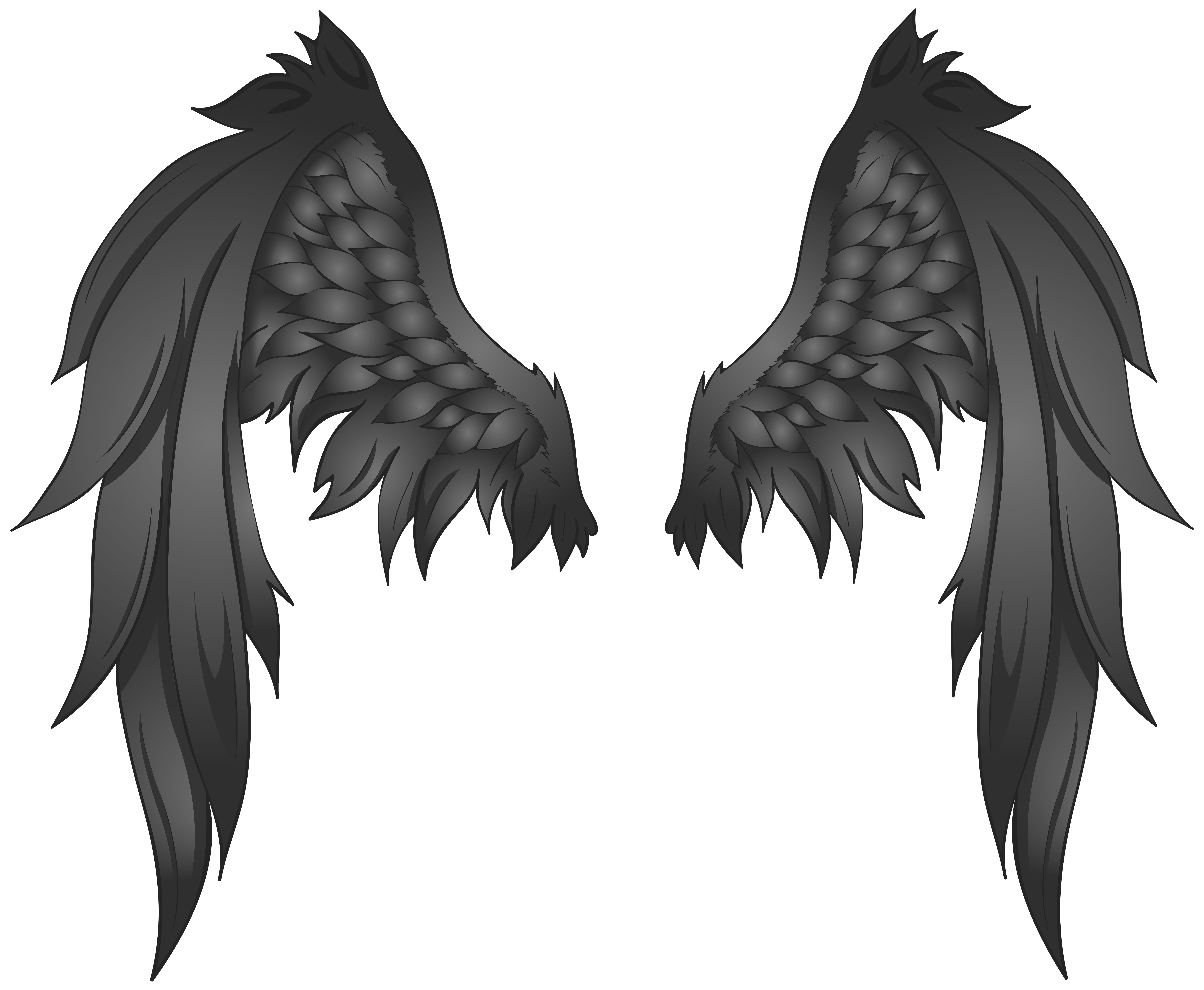 Transparent black clipart vector transparent library Black Wings Transparent PNG Image | Gallery Yopriceville - High ... vector transparent library