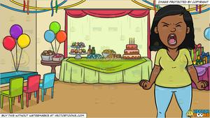 Black woman birthday clipart picture library library A Black Woman Screaming Out Loud and A Birthday Party Background picture library library