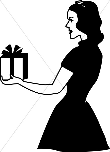 Library of black woman birthday graphic black and white