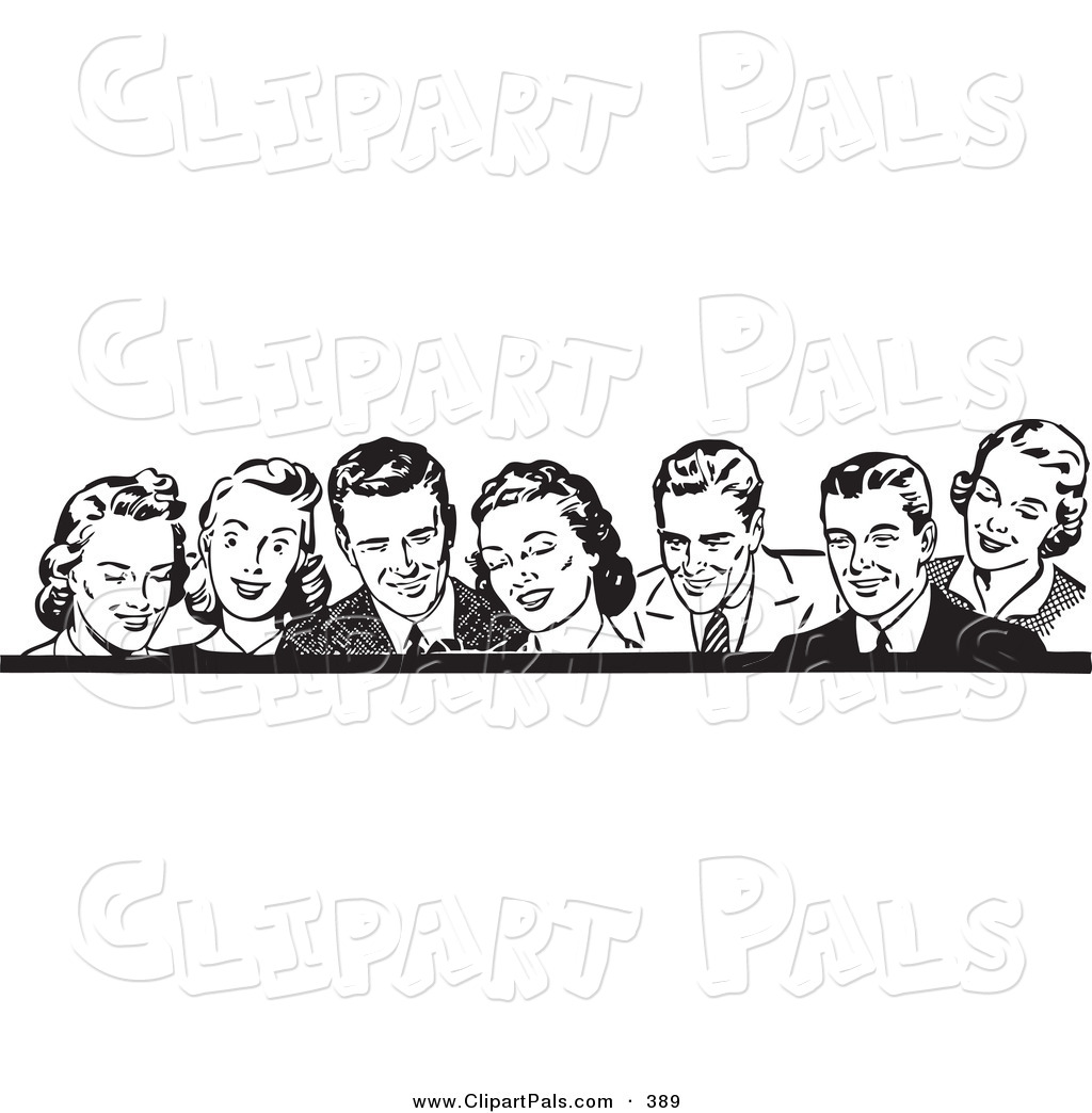 Black woman laughing clipart picture library library Pal Clipart Of A Border Of Retro Laughing Men And Women In Black ... picture library library