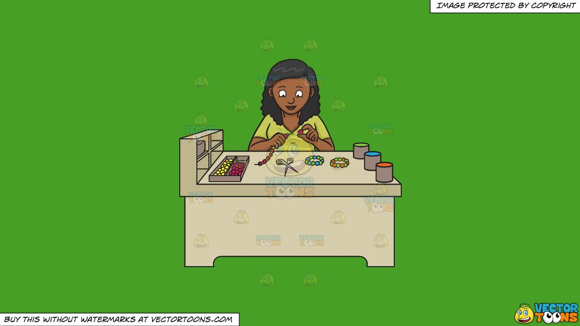 Black woman wearing bracelet clipart clip freeuse library Clipart: A Black Woman Making Beaded Bracelets on a Solid Kelly Green  47A025 Background clip freeuse library