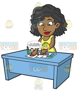 Black woman wearing bracelet clipart royalty free stock A Black Woman Making A Scrapbook From Scratch royalty free stock