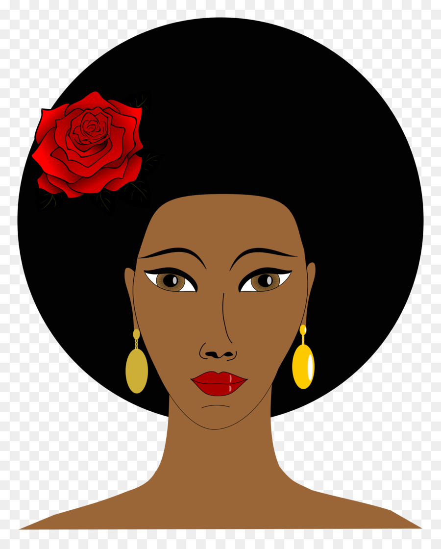 Black woman with afro and earrings clipart clip royalty free Hair Cartoon clipart - Black, Face, Nose, transparent clip art clip royalty free