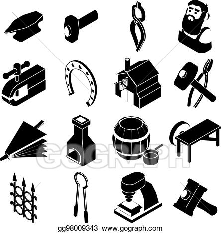 Blacksmith tools clipart banner royalty free stock EPS Illustration - Blacksmith tools icons set, simple style. Vector ... banner royalty free stock