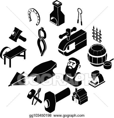 Blacksmith tools clipart graphic free EPS Illustration - Blacksmith tools icons set, simple style. Vector ... graphic free
