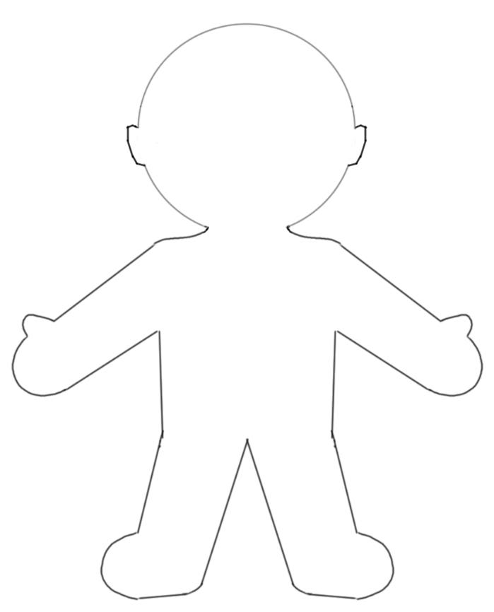 Elf paper doll clipart black and white
