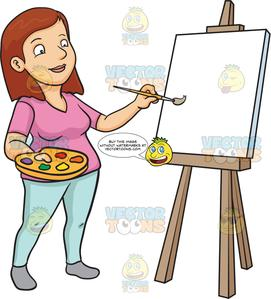 Blank canvas clipart clip transparent stock A Woman Painting On A Blank Canvas clip transparent stock