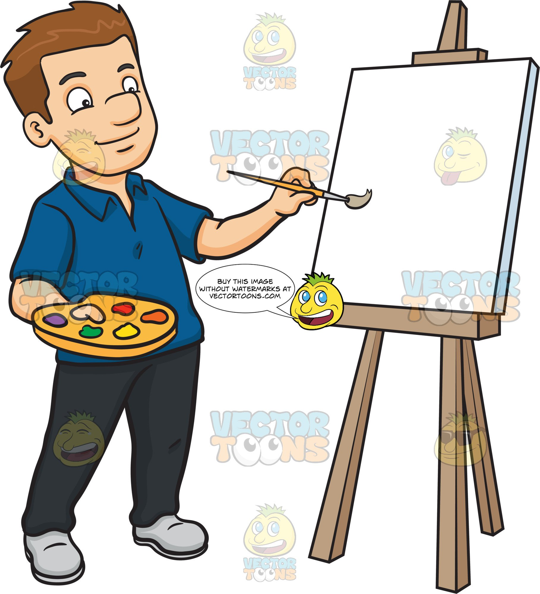 Blank canvas clipart picture free library A Man Painting On A Blank Canvas picture free library