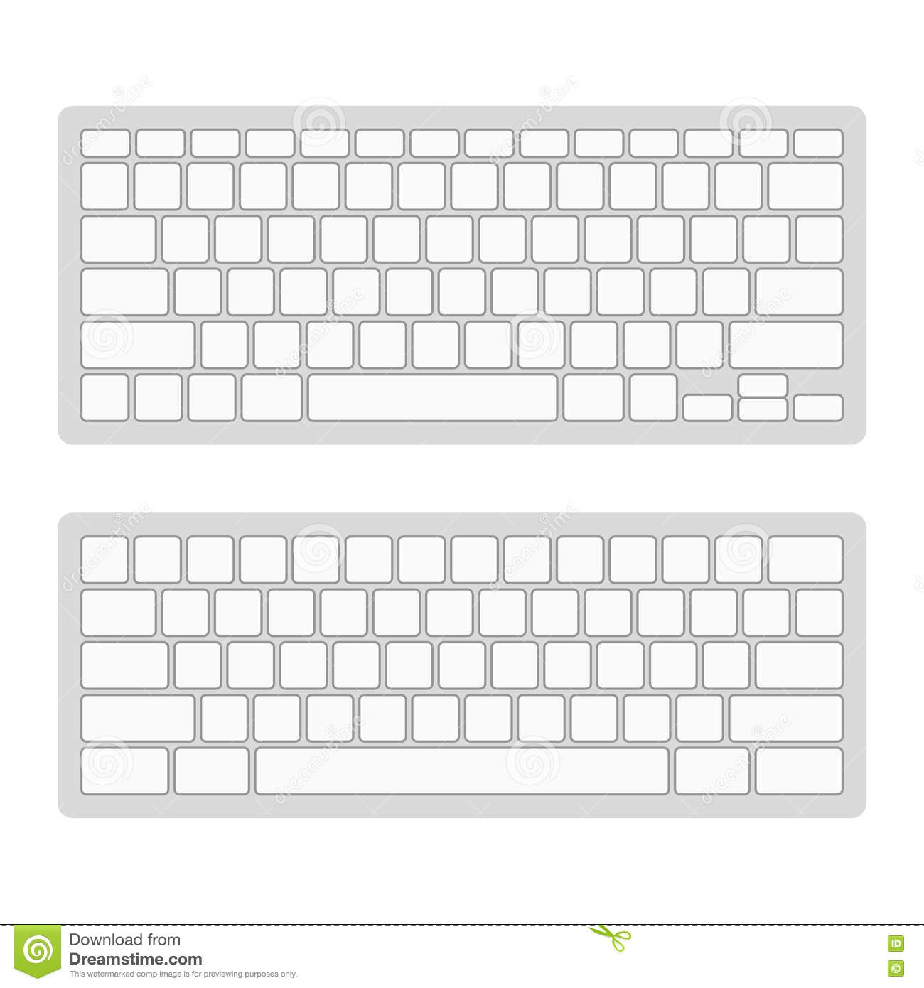 Template set vector stock. Blank computer keyboard clipart