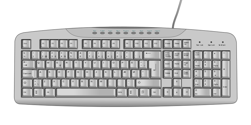 Blank computer keyboard clipart clipart black and white download Keyboard Template Printable. coloring page computer ... clipart black and white download