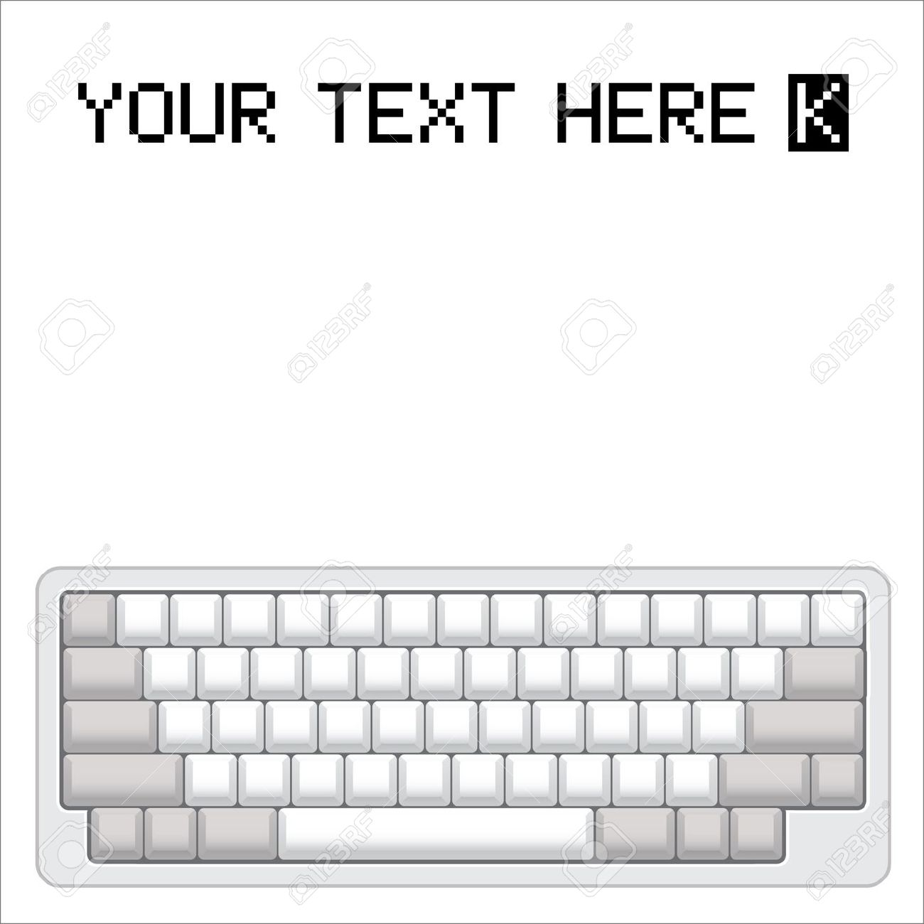 Blank computer keyboard clipart. Layout realistic illustration royalty