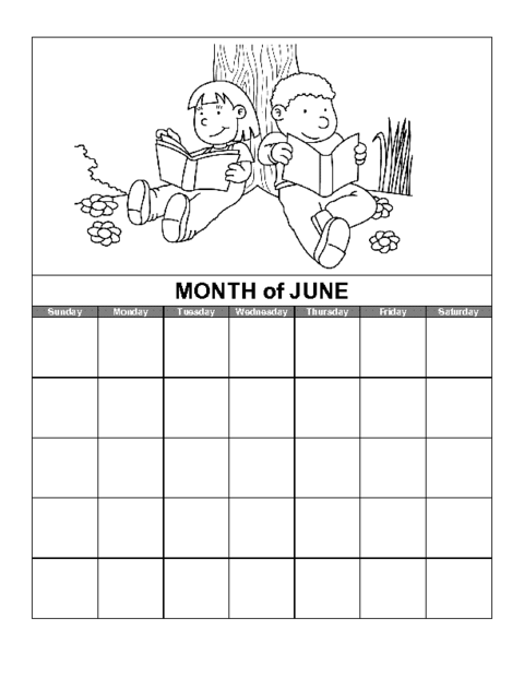 Blank june calendar clipart clip transparent Education World: June Calendar Template clip transparent