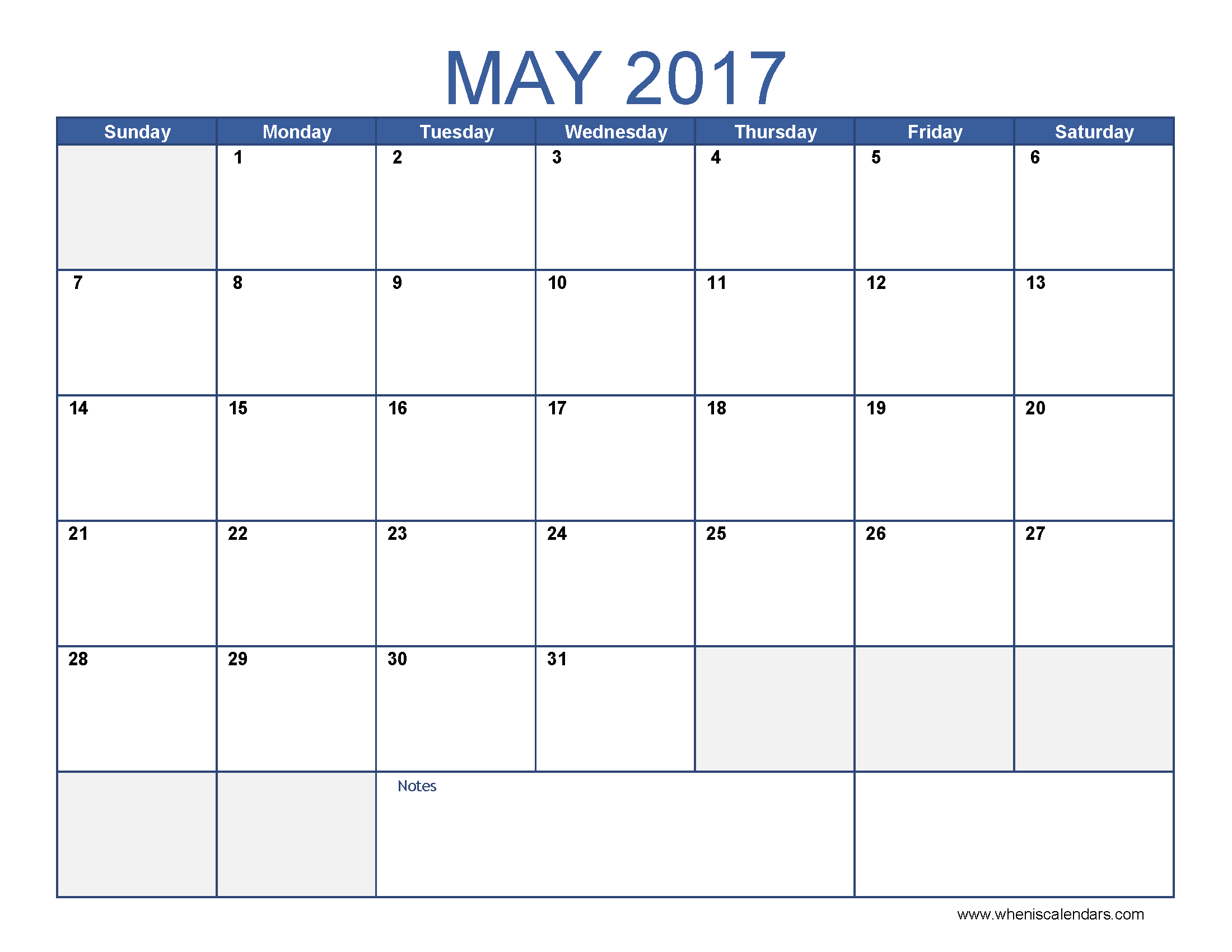 May printable. Blank month calendar clipart